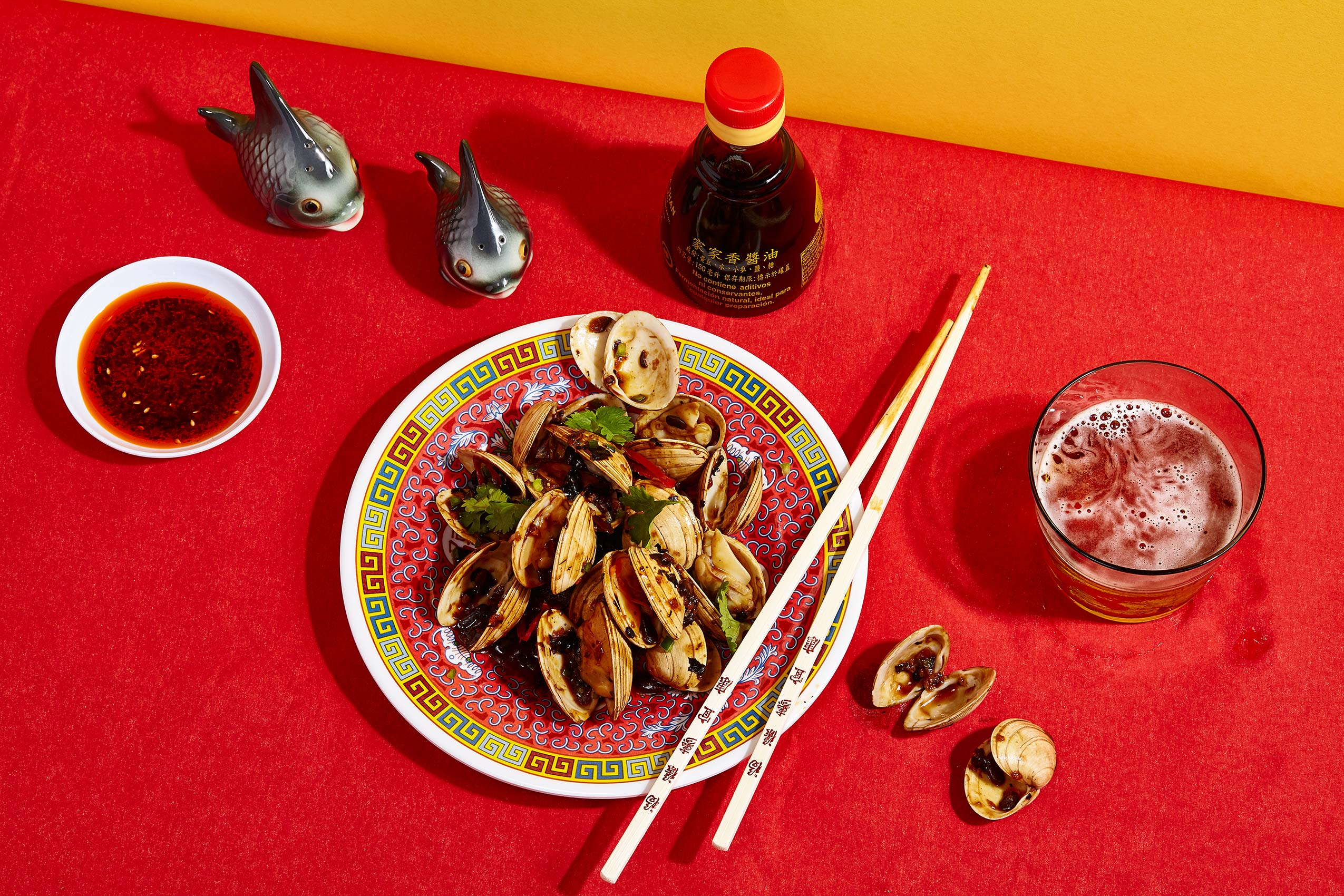 Black Bean Clams & Tsingtao beer, Glasgow food photography