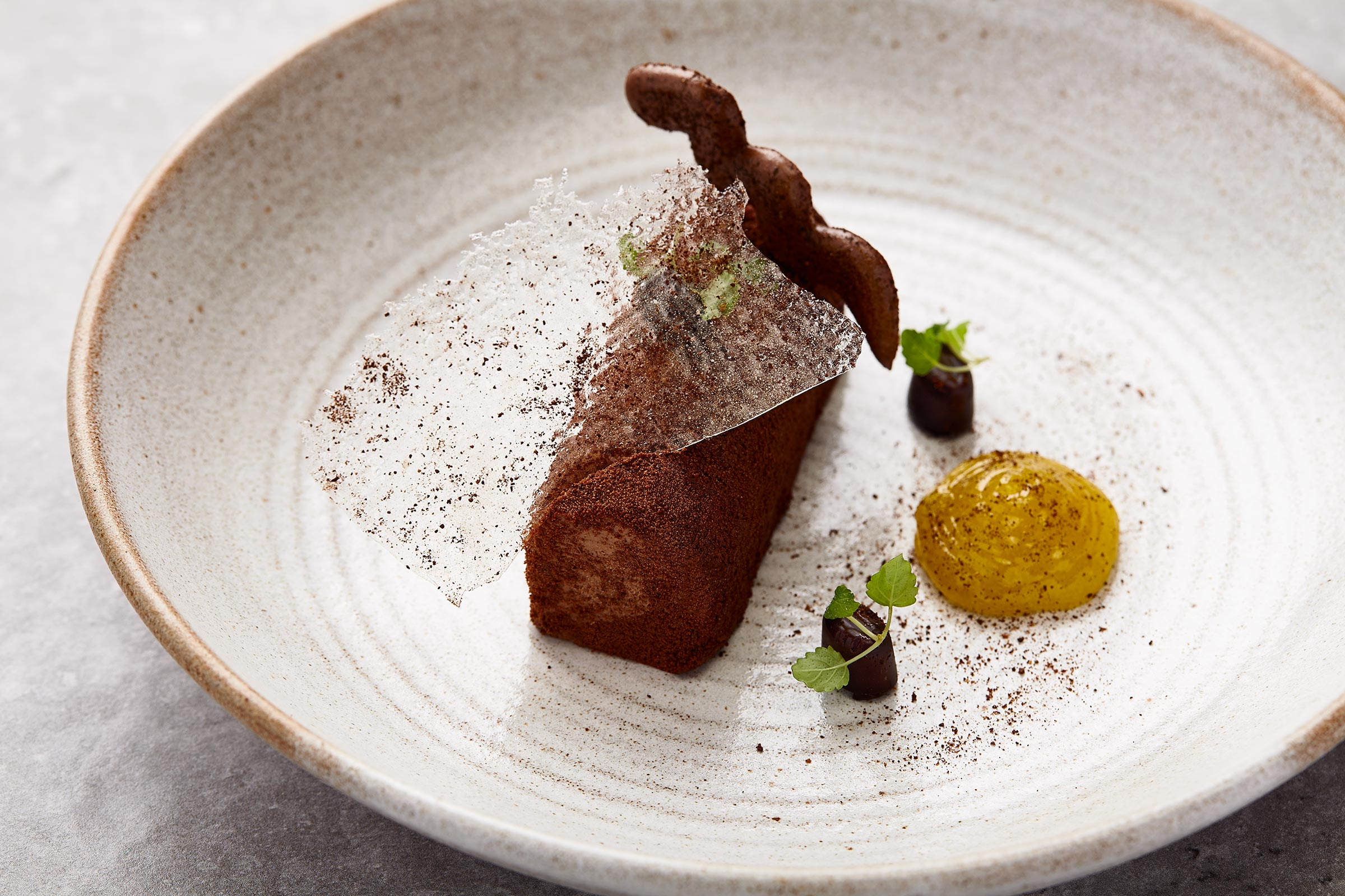 Chocolate and Sea Bucktorn, Castlehill Restaurant, Scottish food photographer