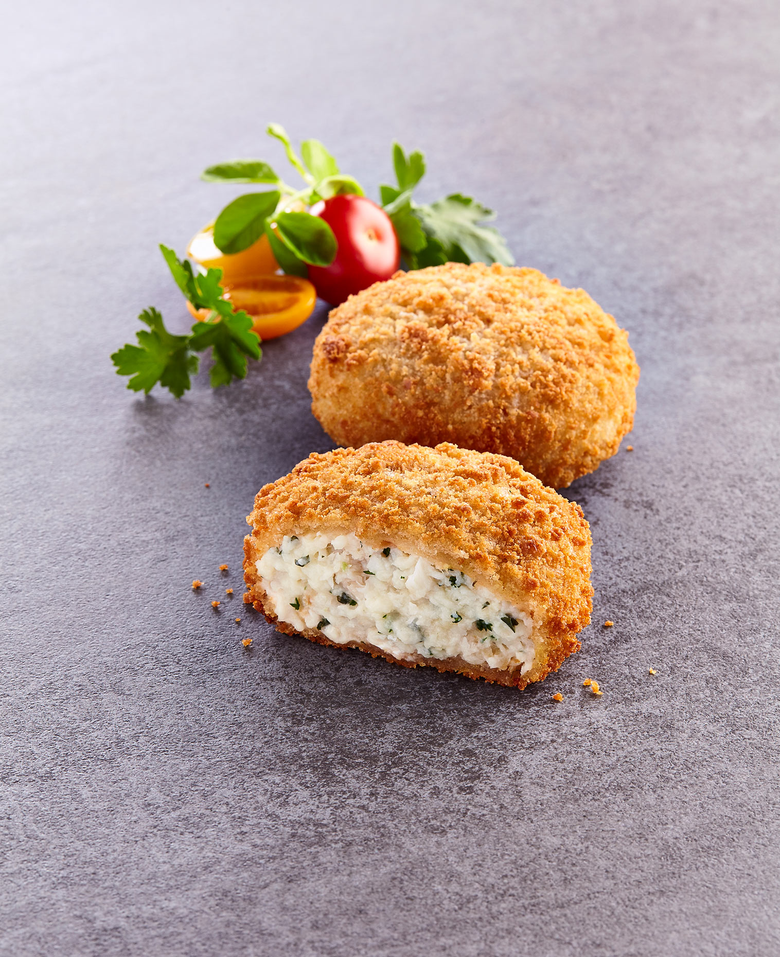 Cod and Parsley Fishcakes, Thistle Seafoods packaging photography. Glasgow food photographer.