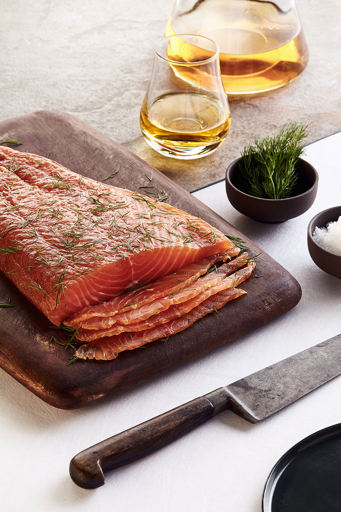 Gravadlax and Whisky, Notes from Linn House, editorial food photography Edinburgh