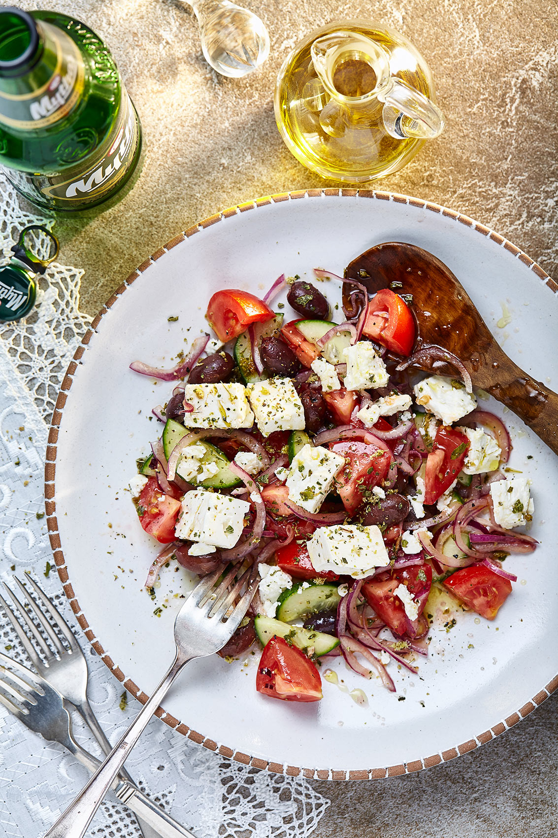 Greek Salad & bottle of Mythos Beer, food photographer Edinburgh