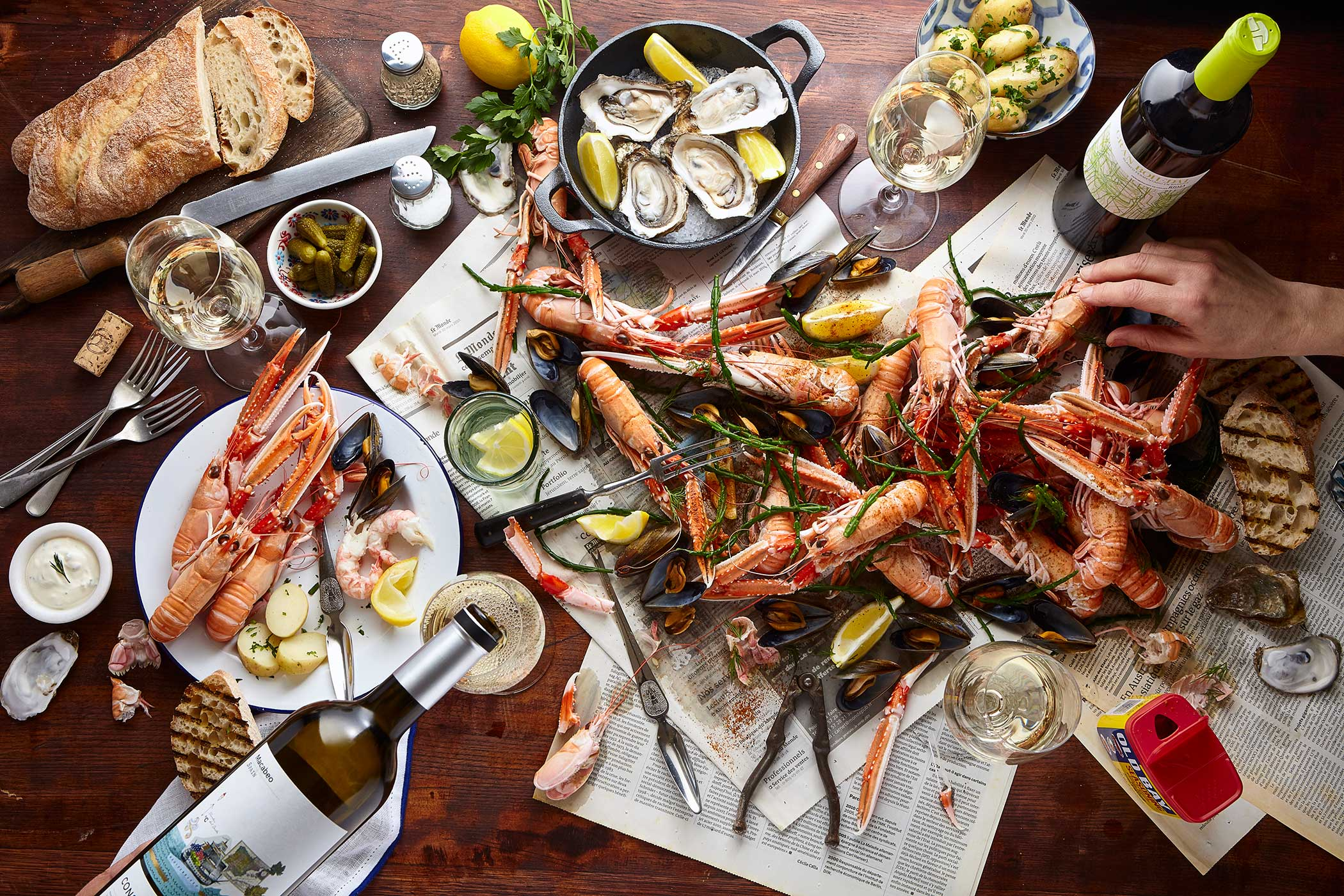 Langoustine picnic party, De Burgh Wines, Edinburgh food stylist and photographer