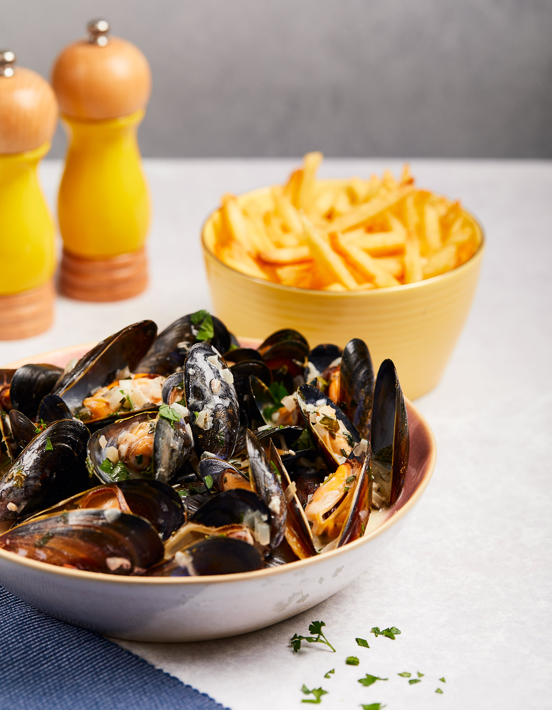 Moules Mariniere and Fries, Edinburgh food photographer, Love Seafood, seafish.org
