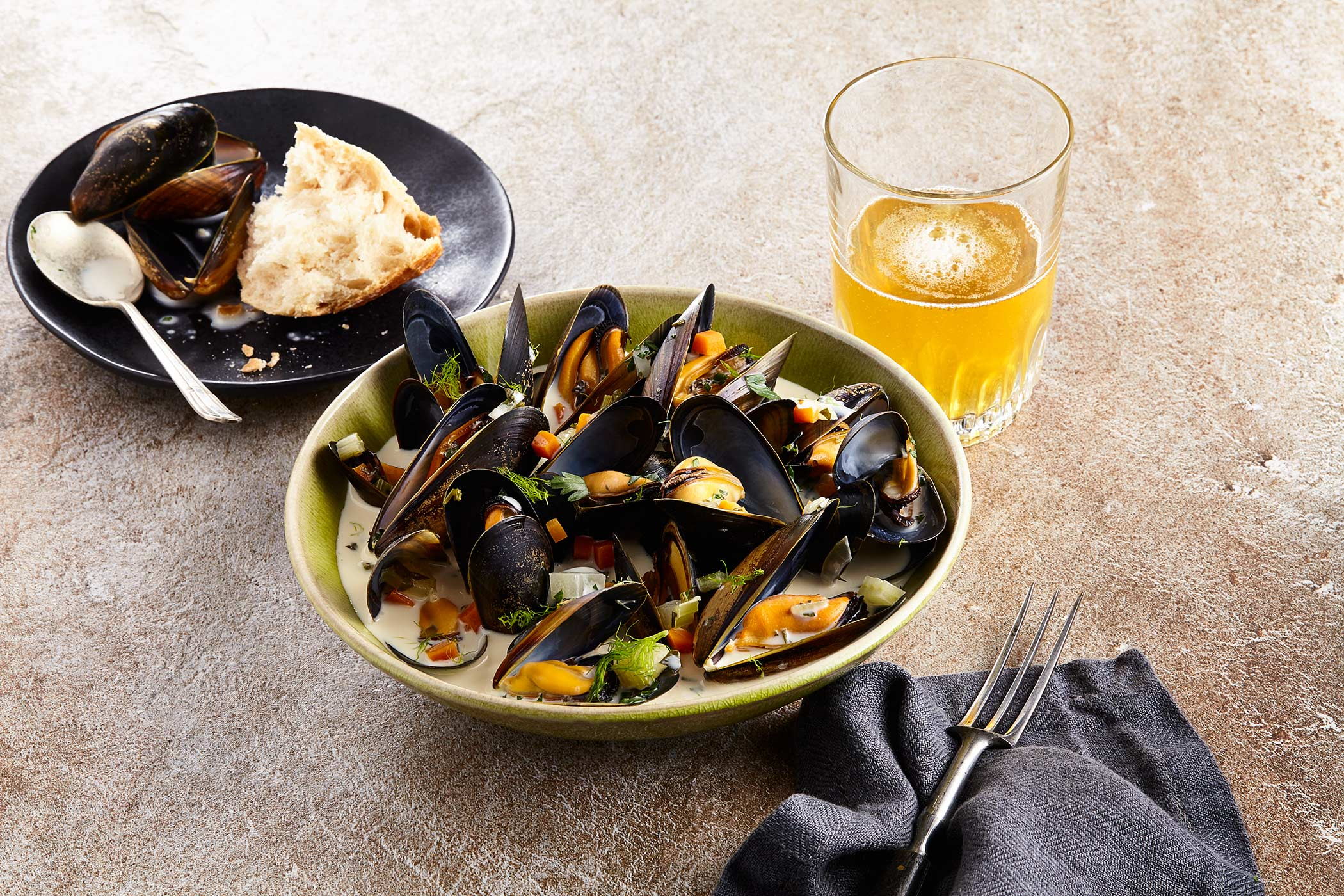Mussels cooked in Beer, Scottish Shellfish