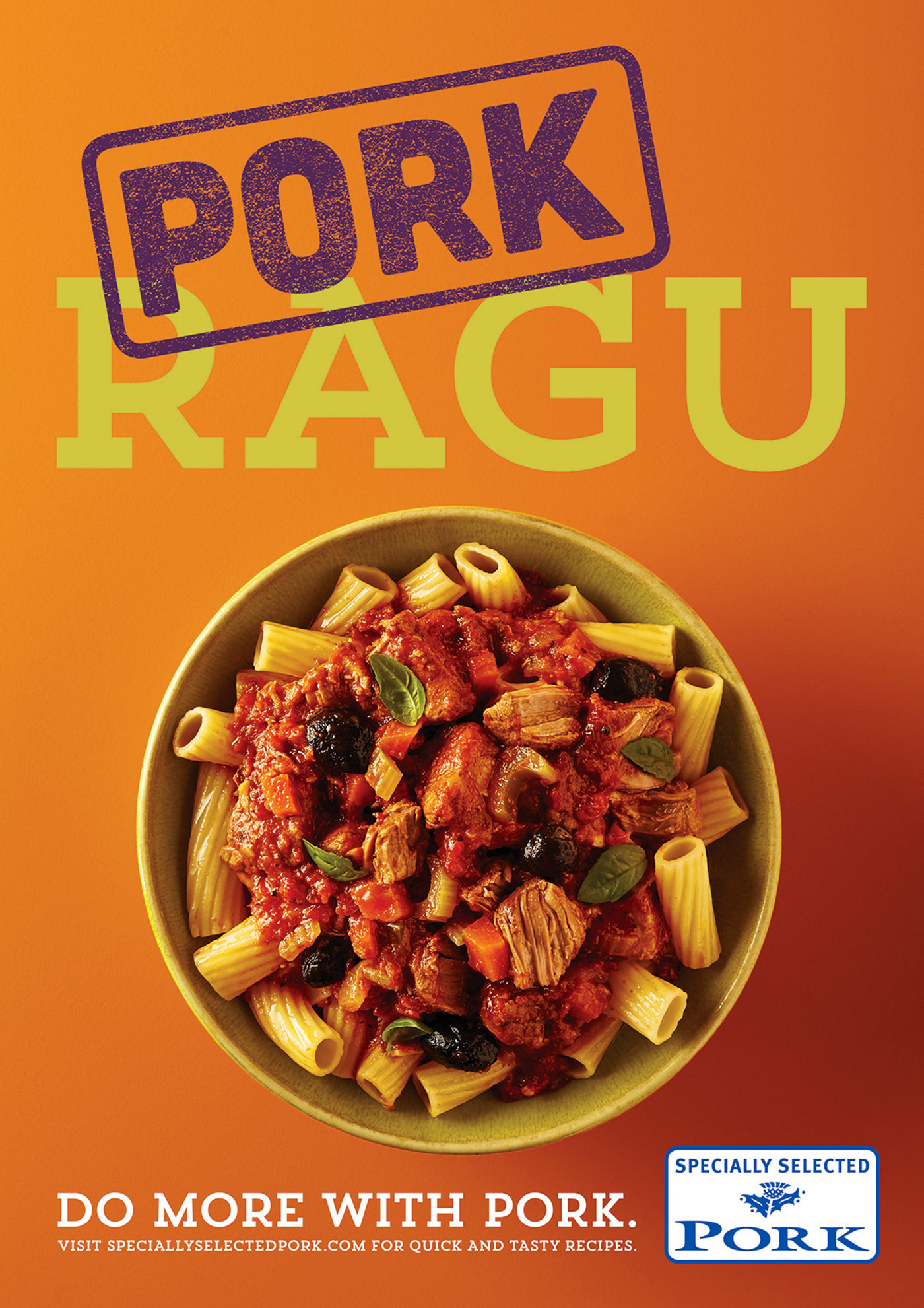 Pork Ragu and Rigatoni Specially Selected Pork, advertising food photography Edinburgh