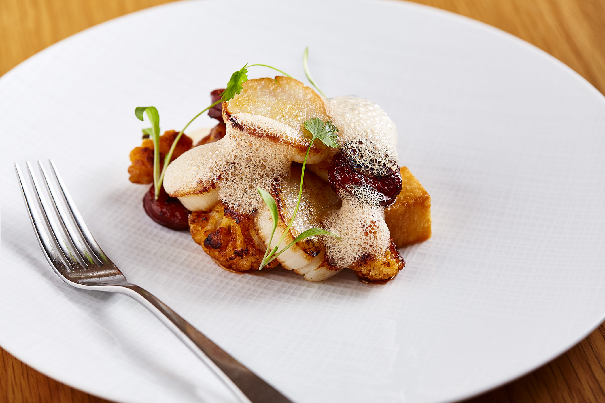 Scallops and Chorizo, The Honours, restaurant food photography