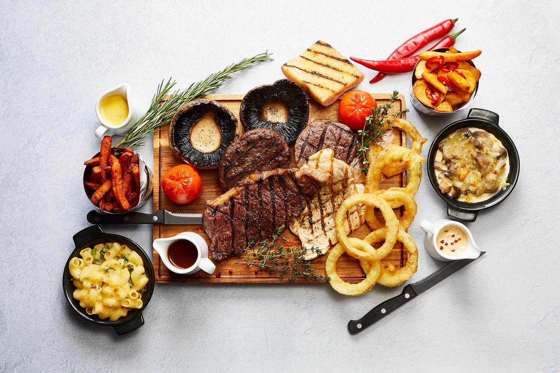 Steak Night Platter and all the Sides, RAD Hotel Group, Dalmeny Park, Glasgow food photographer