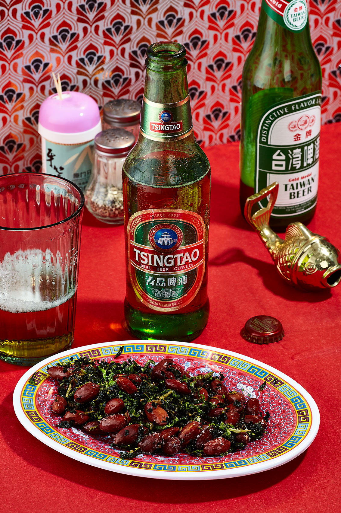 Crispy Seaweed and Soy fried Peanuts with Tsing Tao Beer
