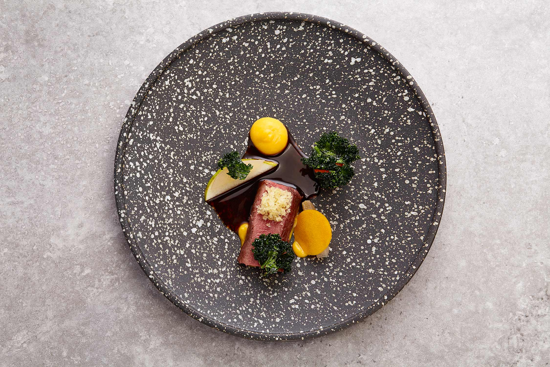 Venison Pear and Squash, Castlehill Restaurant, Scottish food photography