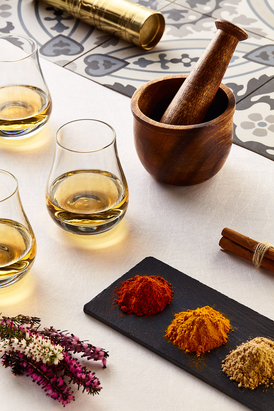 Whisky Glasses and  Spices for Chivas Brothers, Notes from Linn House.